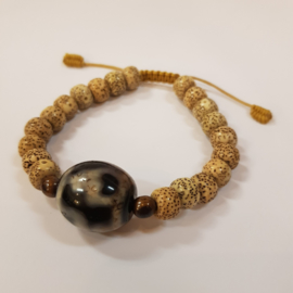 Armband van lotus seed en agaat - Kamana Lifestyle