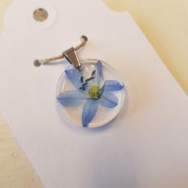 Hanger blauwe bloem (nr. 4) NIEUW