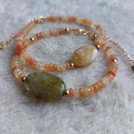 Armbandjes   Natuursteen & Glas   Oranje/Groen