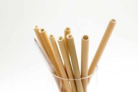 4 Bamboe rietjes met borsteltje