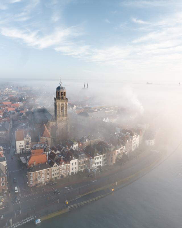 losse foto 30x40cm | Deventer in de mist