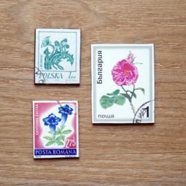 Handgemaakte postzegel koelkastmagneten, set F