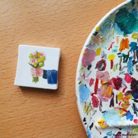 'Een klein boeket', mini olieverf schildering op doek, 5x5 cm