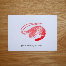 You're shrimply the best - handgeprinte wenskaart met kaart