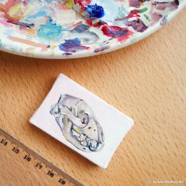 Crocuta crocuta mini olieverf schildering, olieverf op doek, 6x4 cm