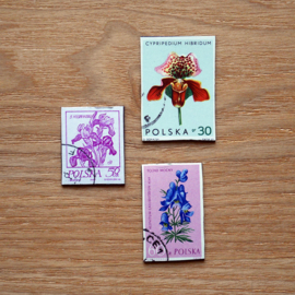 Handgemaakte postzegel koelkastmagneten, set P