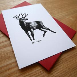 Oh deer - handgeprinte kaart met hert