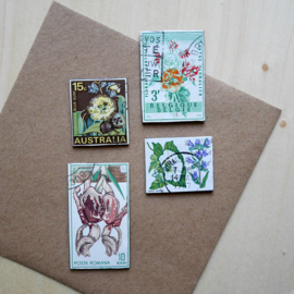 Handmade floral postage stamp magnets, set K