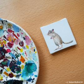 Mini olieverf schildering van een gerbil op canvas