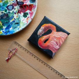 Tiny painting 'Flamingo' 10x10 cm olieverf op doek