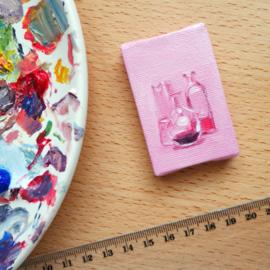 'Stilleven in glas' olieverf schildering op doek, 4x6 cm