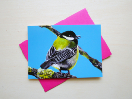 Great tit postcard with envelope