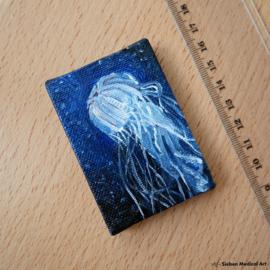 'Medusa', olieverf schildering van een zeekwal op canvas