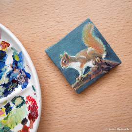 'Eekhoorn' tiny painting olieverf op doek, 7x7 cm