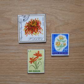 Handgemaakte postzegel koelkastmagneten, set L