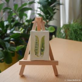 Tiny painting 'Tuinerwten', olieverf op doek, 4x6 cm