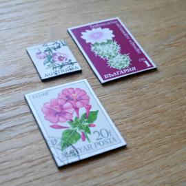 Handgemaakte postzegel koelkastmagneten, set O