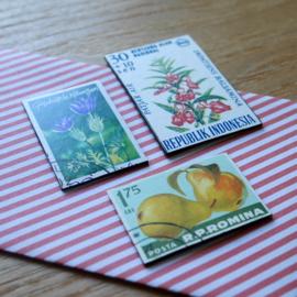 Handgemaakte postzegel koelkastmagneten, set I