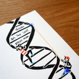 Moederdag kaart met science pun DNA