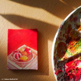'Fruit stilleven', mini olieverf schildering, 6x8 cm