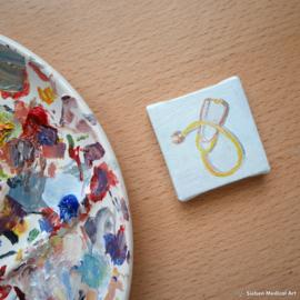 Stethoscoop tiny painting olieverf op doek, 5x5 cm