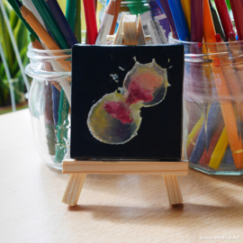 Tiny biologie olieverfschildering 'Mitose', olieverf op doek, 7x7 cm