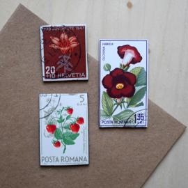 Handgemaakte postzegel koelkastmagneten, set H