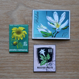 Handmade floral postage stamp magnets, set E