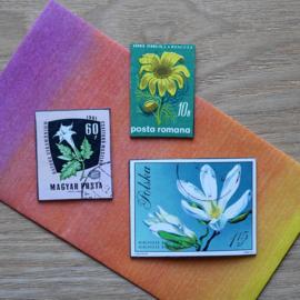 Handmade floral postage stamp magnets, set E