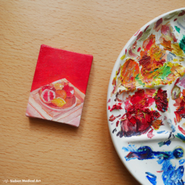 Tiny fruit still life oil painting, 6x8 cm