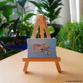 Menselijke rugwervel mini olieverf schildering