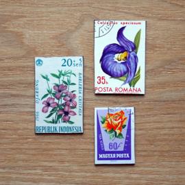 Handgemaakte postzegel koelkastmagneten, set Q