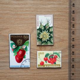 Handgemaakte postzegel koelkastmagneten, set R