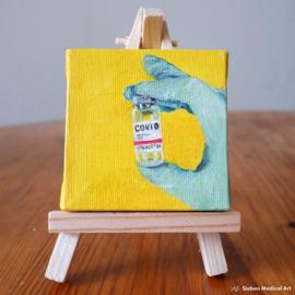 'Covid-19 vaccine' mini olieverf schildering op doek, 7x7 cm
