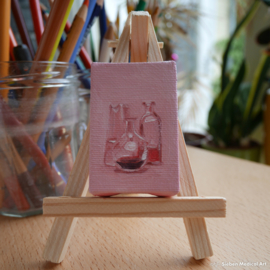 'Glass ware still life' tiny oil painting on canvas, 4x6 cm