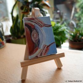 Anatomie van het oog tiny painting, olieverf op doek, 5x7 cm