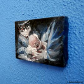 Hallo baby! Olieverf schildering van een keizersnede geboorte, olieverf op doek