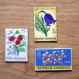 Handmade floral postage stamp magnets, set M
