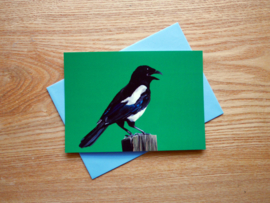 Magpie postcard with envelope