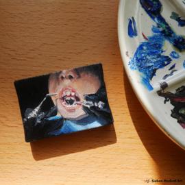 'Zeg 'ns AAA' tandheelkunde schilderij, olieverf op doek, 7x5 cm