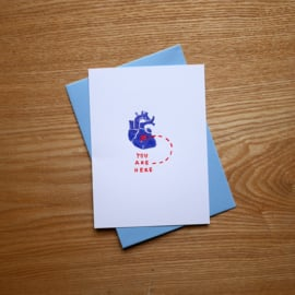 You are here - greeting card with heart