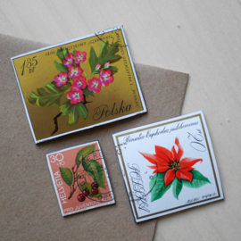 Handmade floral postage stamp magnets, set C