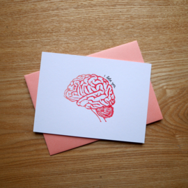 I lobe you - handprinted greeting card with medical pun