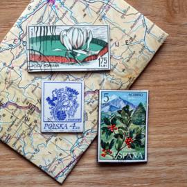 Handgemaakte postzegel koelkastmagneten, set V
