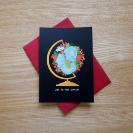 Joy to the world - Christmas card with flowers