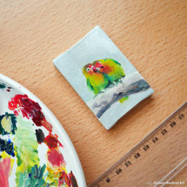Agapornis fischeri lovebirds schilderij, olie op doek, 5x7 cm