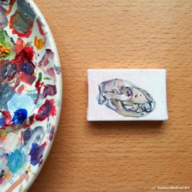 'Crocuta crocuta' tiny oil painting, oil on canvas, 6x4 cm