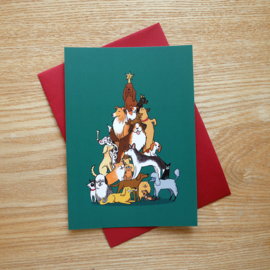 Christmas card Christmas tree of dogs - dark green