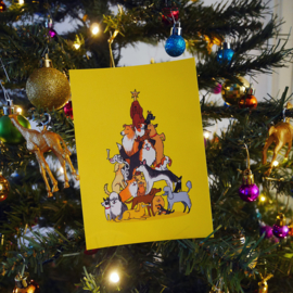 Christmas card christmas tree of dogs - warm yellow