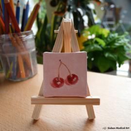 Kersen mini schildering, olieverf op doek, 5x5 cm